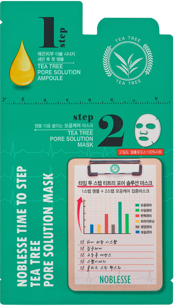 Маска косметическая Korea Noblesse, для лица, двухфазная, с чайным деревом, уход за порами, 25 г