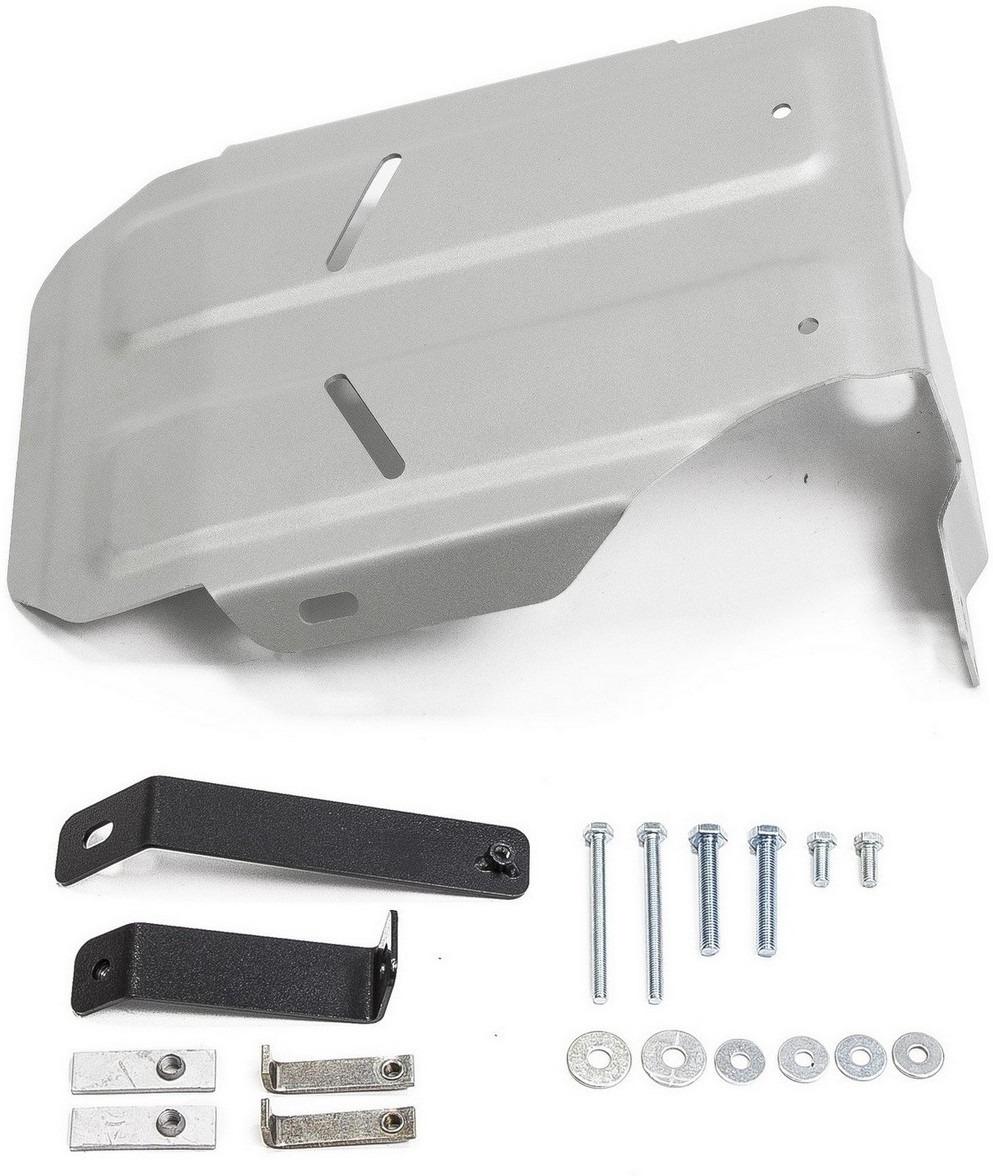 Защита редуктора Rival для Hyundai Creta 4WD 2016-н.в., алюминий 4 мм, с крепежом. 333.2362.1333.2362.1Защита редуктора Rival для Hyundai Creta (V - 1.6; 2.0) 4WD 2016-н.в., алюминий 4 мм, с крепежом, 333.2362.1 Алюминиевые защиты Rival надежно защищают днище вашего автомобиля от повреждений, например при наезде на бордюры, а также выполняют эстетическую функцию при установке на высокие автомобили. - Толщина алюминиевых защит в 2 раза толще стальных, а вес при этом меньше до 30%. - Отлично отводит тепло от двигателя своей поверхностью, что спасает двигатель от перегрева в летний период или при высоких нагрузках. - В отличие от стальных, алюминиевые защиты не поддаются коррозии, что гарантирует срок службы защит более 5 лет. - Покрываются порошковой краской, что надолго сохраняет первоначальный вид новой защиты и защищает от гальванической коррозии. - Глубокий штамп дополнительно усиливает конструкцию защиты. - Подштамповка в местах крепления защищает крепеж от срезания. - Технологические отверстия там, где они необходимы для смены масла и слива воды, оборудованные заглушками, надежно закрепленными на защите. - Помимо основной функции защиты от удара, конструкция так же существенно снижает попадание в моторный отсек влаги и грязи. В комплекте инструкция по установке. Уважаемые клиенты! Обращаем ваше внимание, на тот факт, что защита имеет форму, соответствующую модели данного автомобиля. Наличие глубокого штампа и лючков для смены фильтров/масла предусмотрено не на всех защитах. Фото служит для визуального восприятия товара.