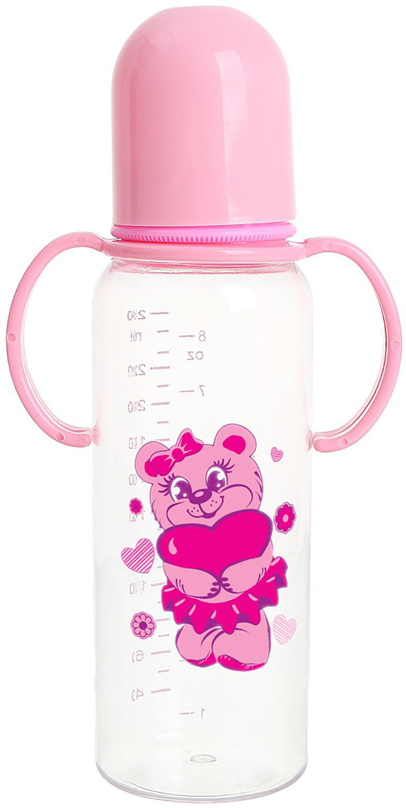 """Бутылочка для кормления Крошка Я """"Мишутка"""", 1060226, розовый, с ручками, 250 мл"""