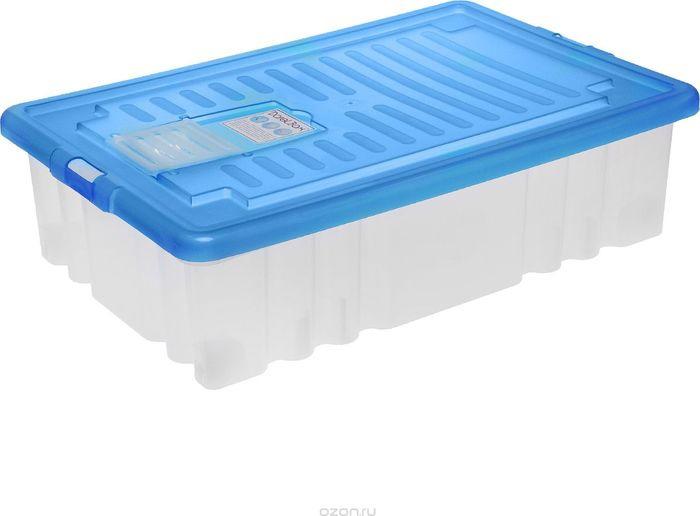 Ящик Darel Box, с крышкой, цвет: прозрачный, голубой, 36 л ящик darel box с крышкой цвет салатовый прозрачный 18 л