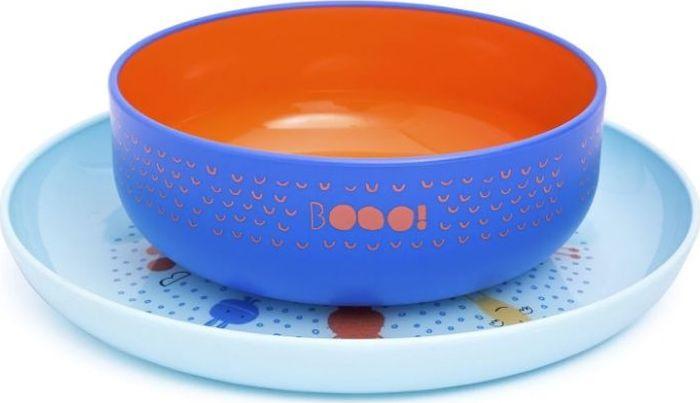 Набор посуды для кормления Suavinex Booo, от 4 месяцев: тарелка + миска, цвет: голубой suavinex поильник booo от 4 месяцев с ручками цвет розовый