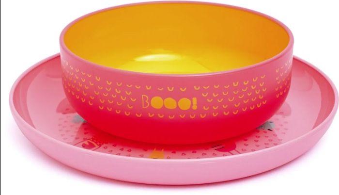 Набор посуды для кормления Suavinex Booo, от 4 месецев: тарелка + миска, цвет: розовый suavinex поильник booo от 4 месяцев с ручками цвет розовый