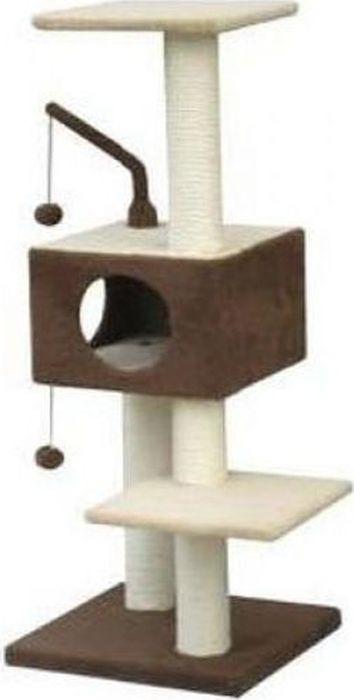 Игровая площадка для кошек Fauna Revizo, трехуровневая, цвет: коричневый, бежевый, 35 х 35 х 71 см FAUNA