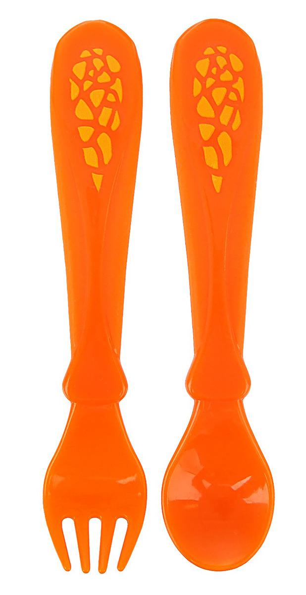 """Набор детских столовых приборов Mum&Baby """"Жирафик Лило"""", 2618984, оранжевый, 2 предмета"""