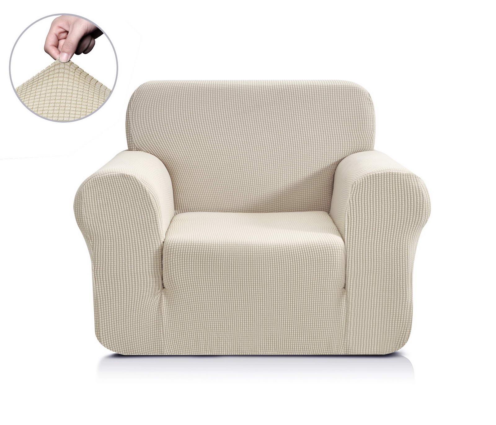 Чехол на кресло Sofi de Marko Моника, Див-3м-р1, молочныйДив-3м-р1Дивандек на кресло Растяжимость: от 60 до 100 см Состав - 95% полиэстер и 5% спандекс Упаковка Сумка ПВХ Уход - 30с°