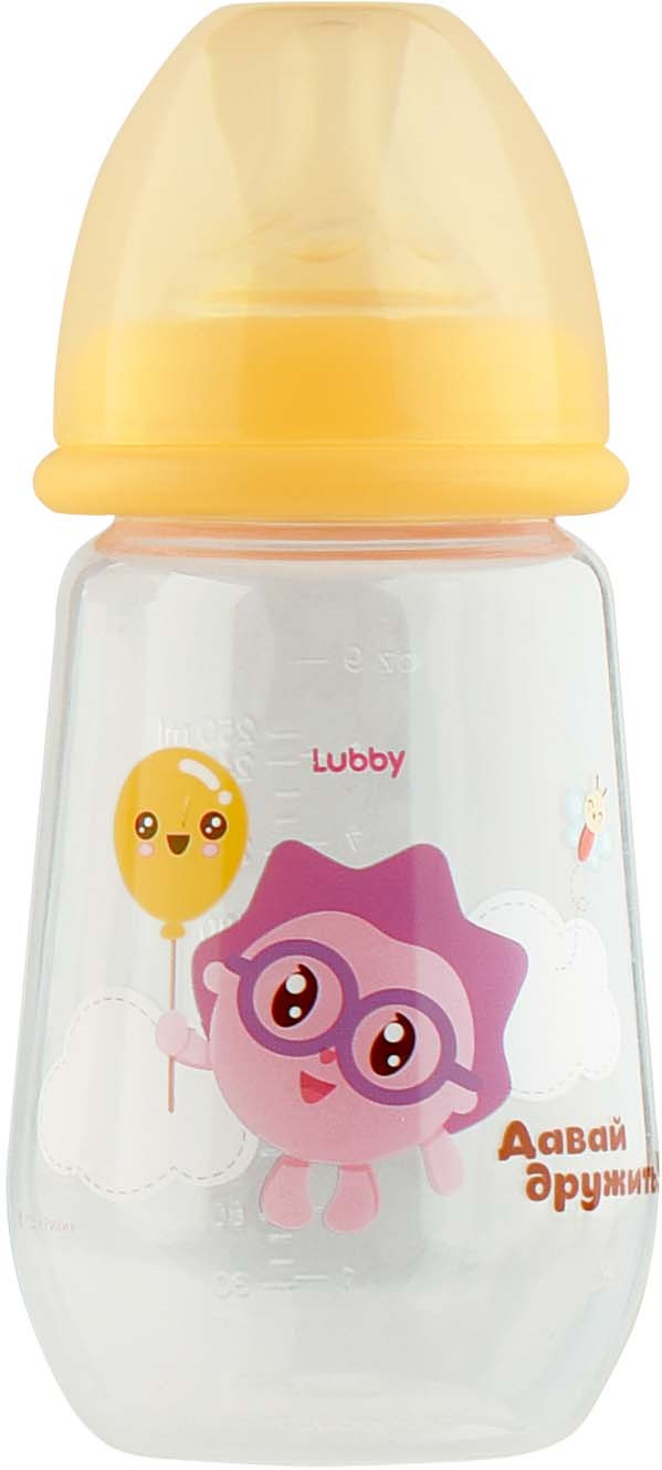 Бутылочка для кормления Lubby Малышарики, 20898, желтый, от 0 месяцев, 250 мл цена
