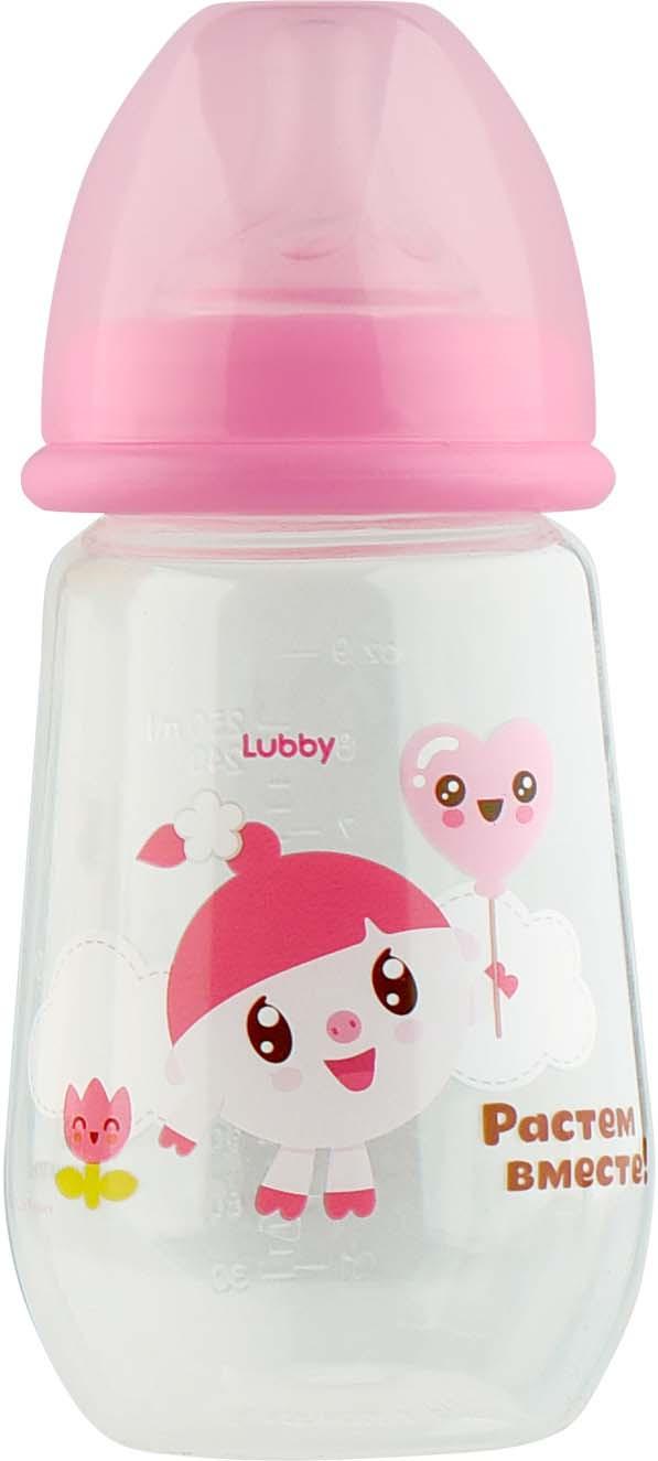 Бутылочка для кормления Lubby Малышарики, 20898, розовый, от 0 месяцев, 250 мл цена