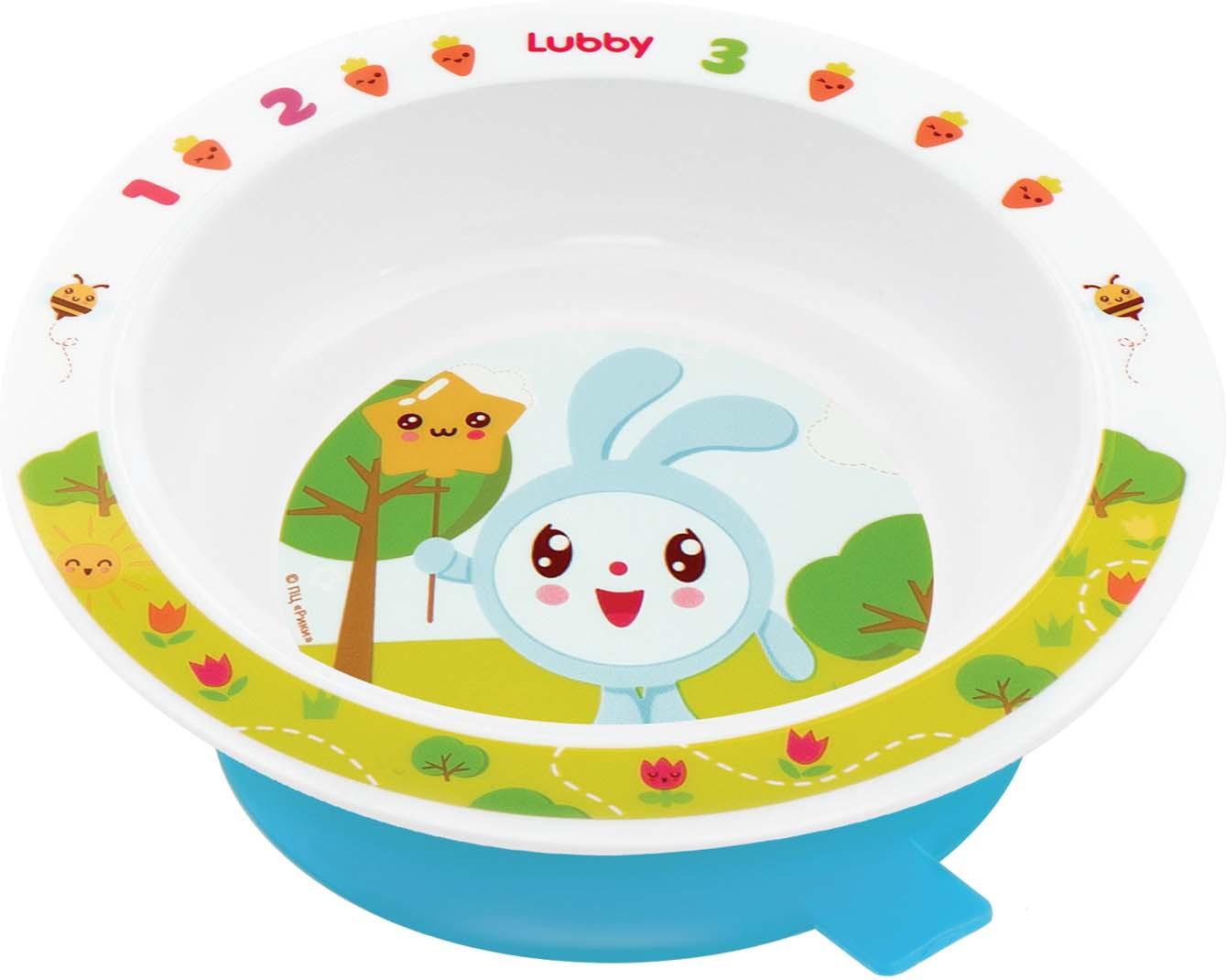 Тарелка на присоске Lubby Малышарики 20916, голубой