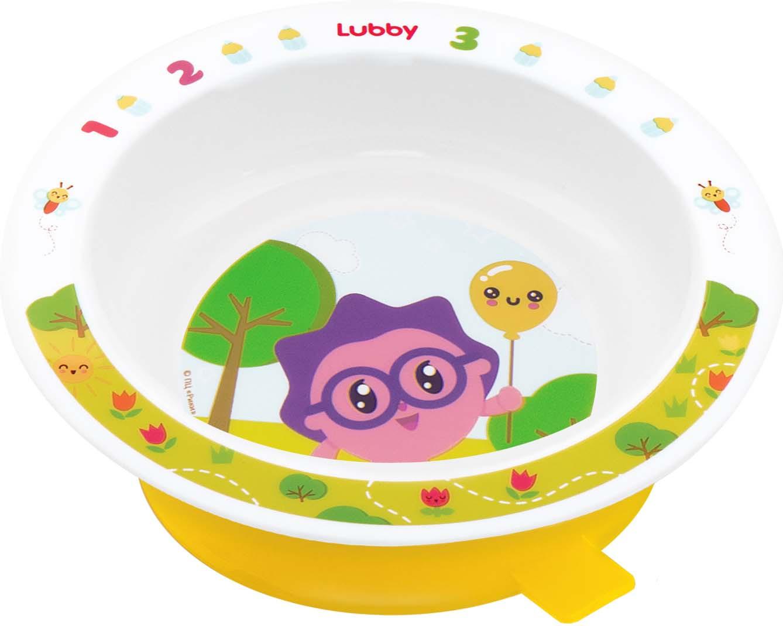 Тарелка на присоске Lubby Малышарики, 20916, желтый, 400 мл