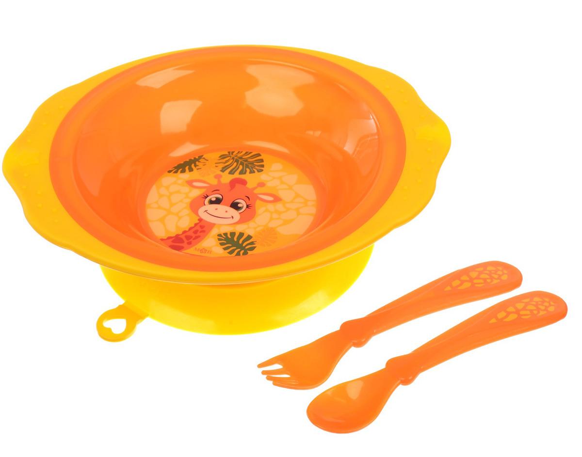 """Набор посуды для кормления Mum&Baby """"Жирафик Лило"""", 2618926, 3 предмета"""