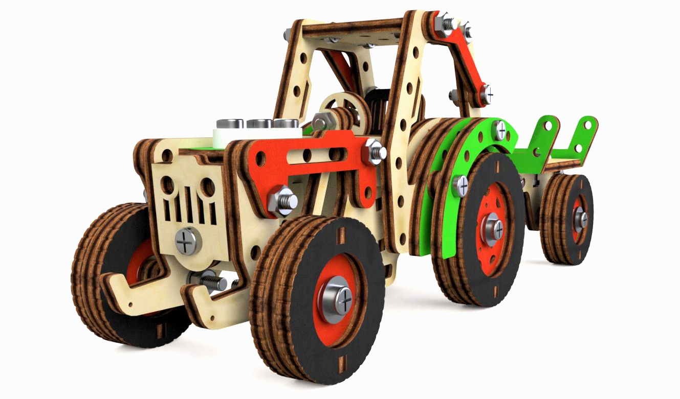 Конструктор 3D деревянный M-Wood Трактор Фермер, винтовой