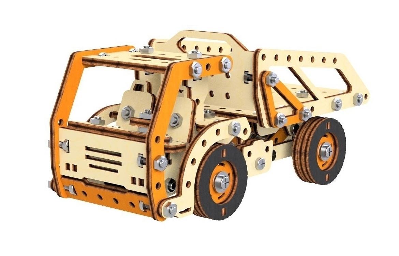 Конструктор 3D деревянный M-Wood Грузовик-самосвал, винтовой