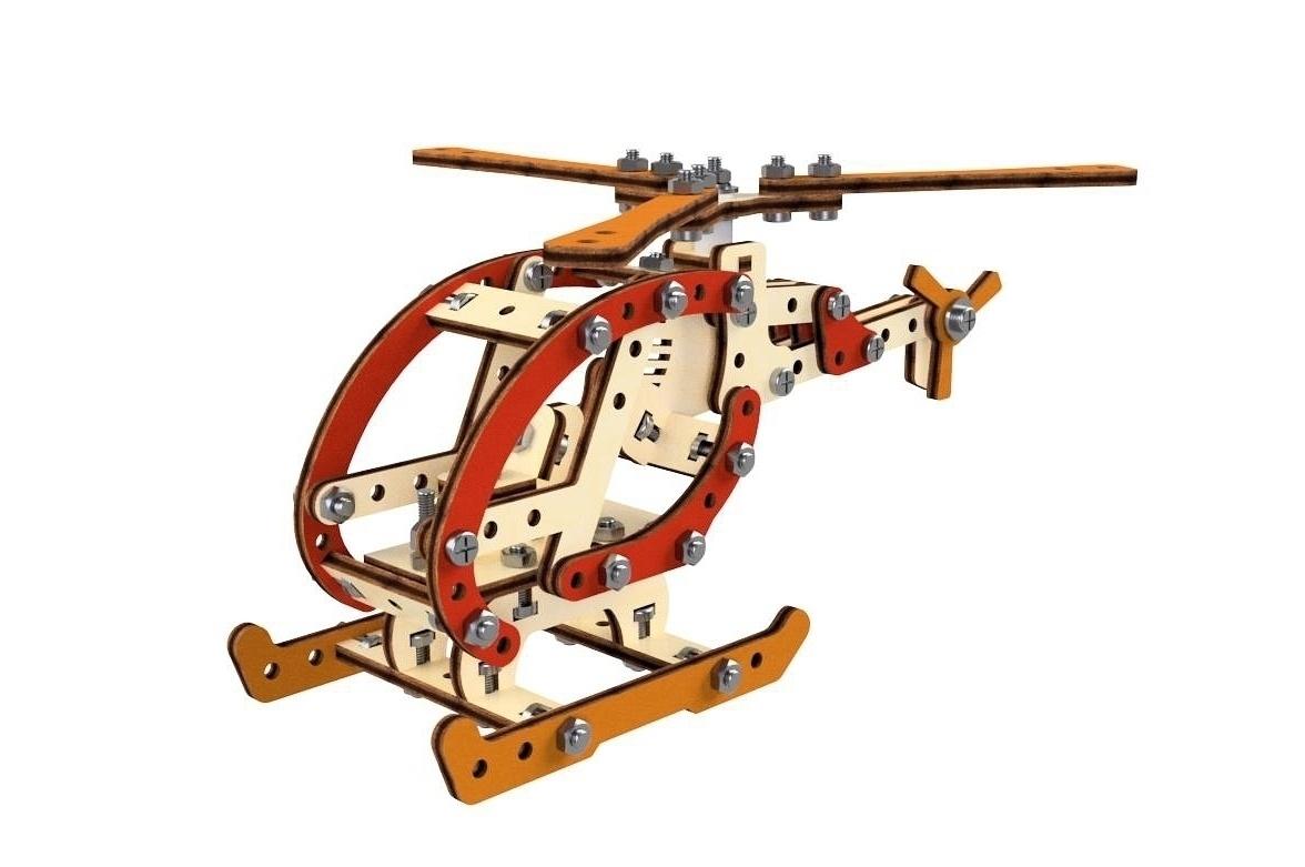 Конструктор 3D деревянный M-Wood Вертолет, винтовой