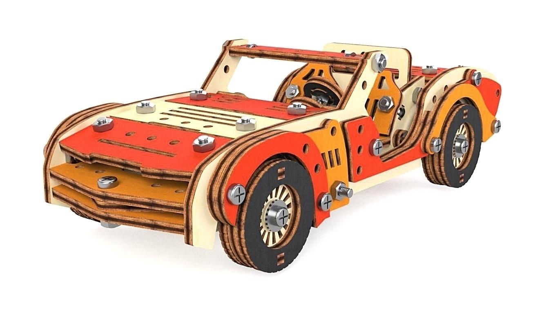 Конструктор 3D деревянный M-Wood Спортивная машина, винтовой