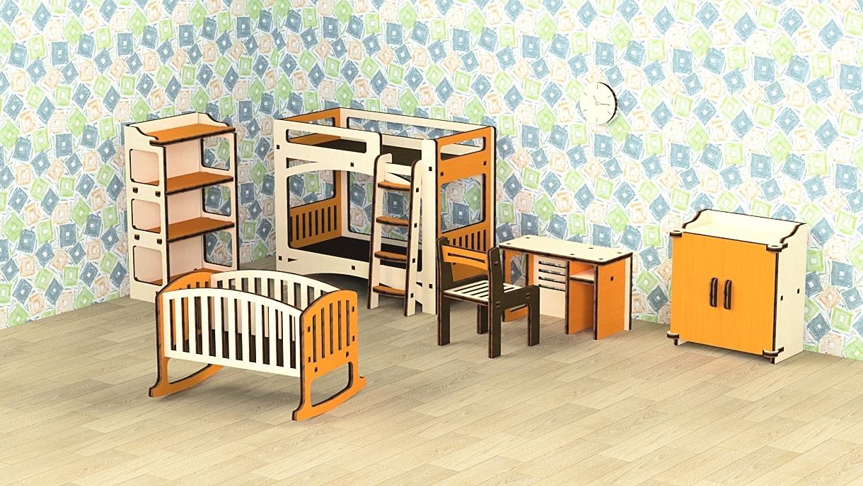 Кукольная мебель деревянная M-Wood Детская, 8 предметов детская мебель заречье