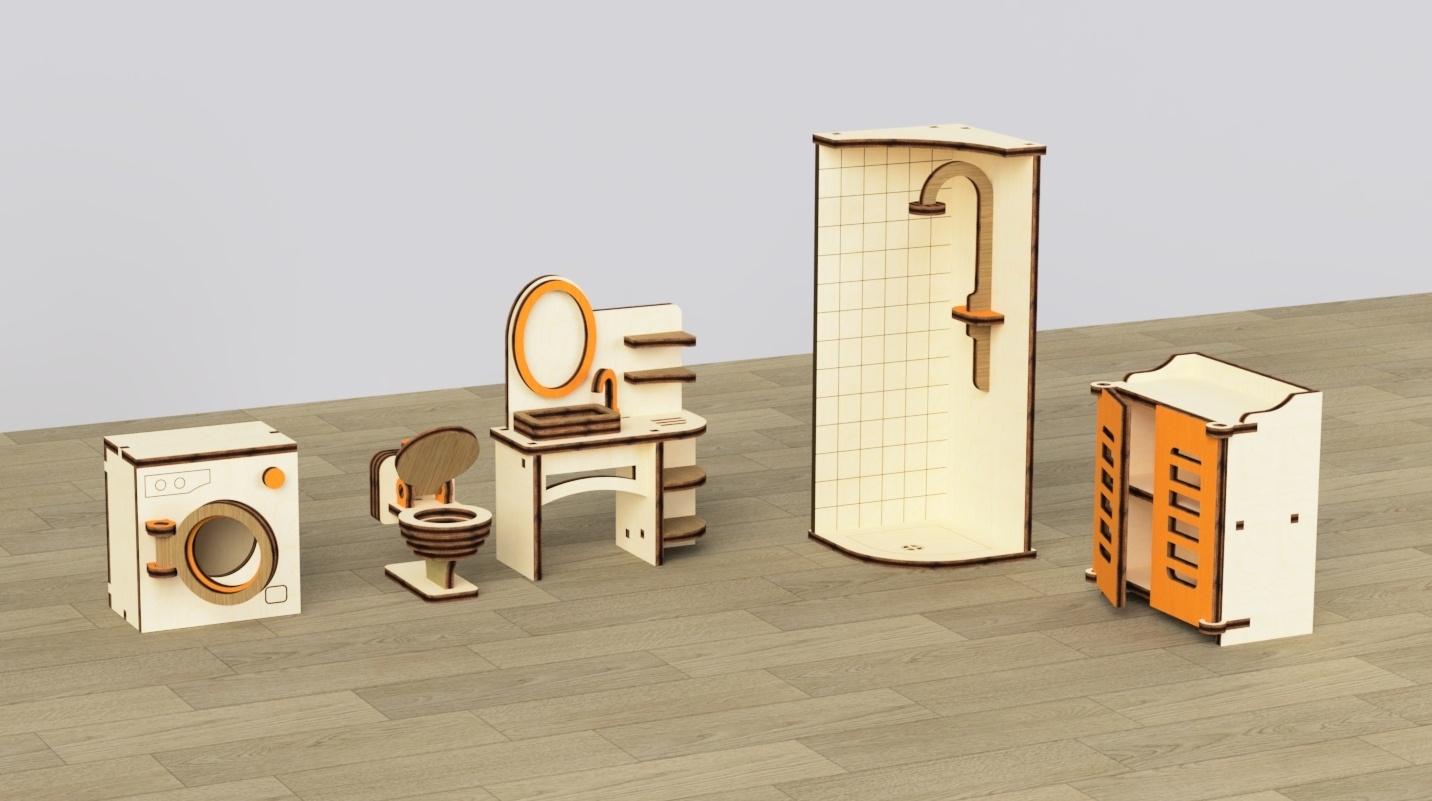 Кукольная мебель деревянная M-Wood Ванная, 5 предметов
