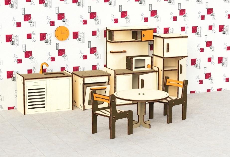 Кукольная мебель деревянная M-Wood Кухня, 9 предметов