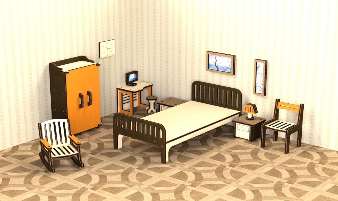 Кукольная мебель деревянная M-Wood Спальня, 13 предметов кукольная мебель огонек колыбель коллекция