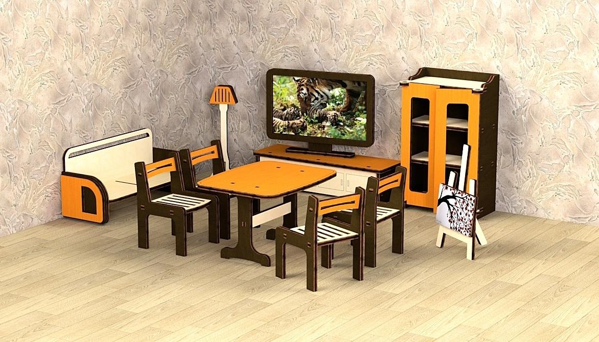Кукольная мебель деревянная M-Wood Гостиная, 11 предметов кукольная мебель огонек колыбель коллекция