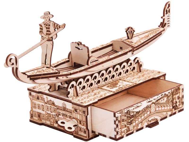 Механический конструктор из дерева Wood Trick Шкатулка Гондола