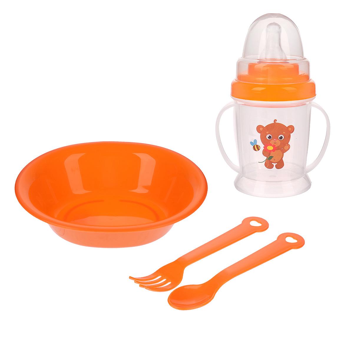 Набор посуды для кормления Крошка Я Мишка, 3275230, 4 предмета набор для кормления крошка я первый подарок малышу 2849357 7 предметов