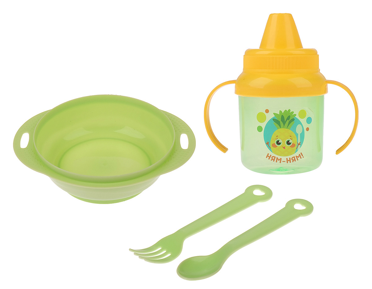 Набор посуды для кормления Крошка Я Ням-ням, 3275235, 4 предмета набор для кормления крошка я первый подарок малышу 2849357 7 предметов