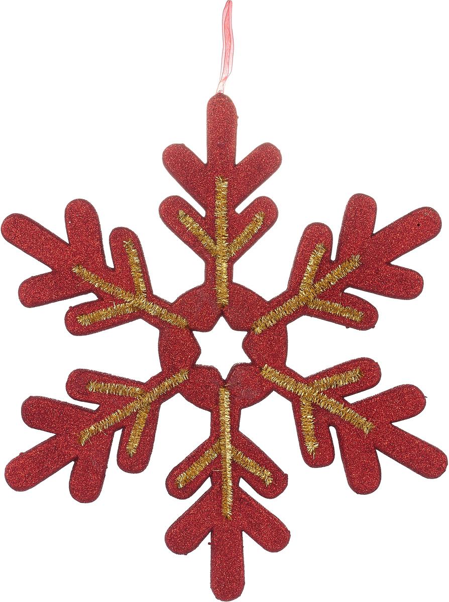 Украшение новогоднее подвесное Neon-Night Снежинка сказочная, цвет: красный, золотой, 40 см neon night панно световое 60x60 см снежинка nn 501 501 335