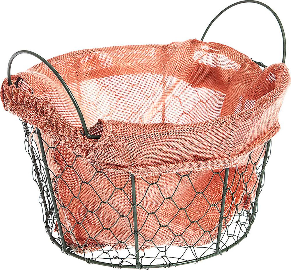 Набор корзин You'll love Стиль, круглых, с ручками и текстилем, 72374, темно-зеленый, оранжевый, диаметр 24 см, 2 шт набор из 2 грибных корзин природный интерьер k 2224 s 2