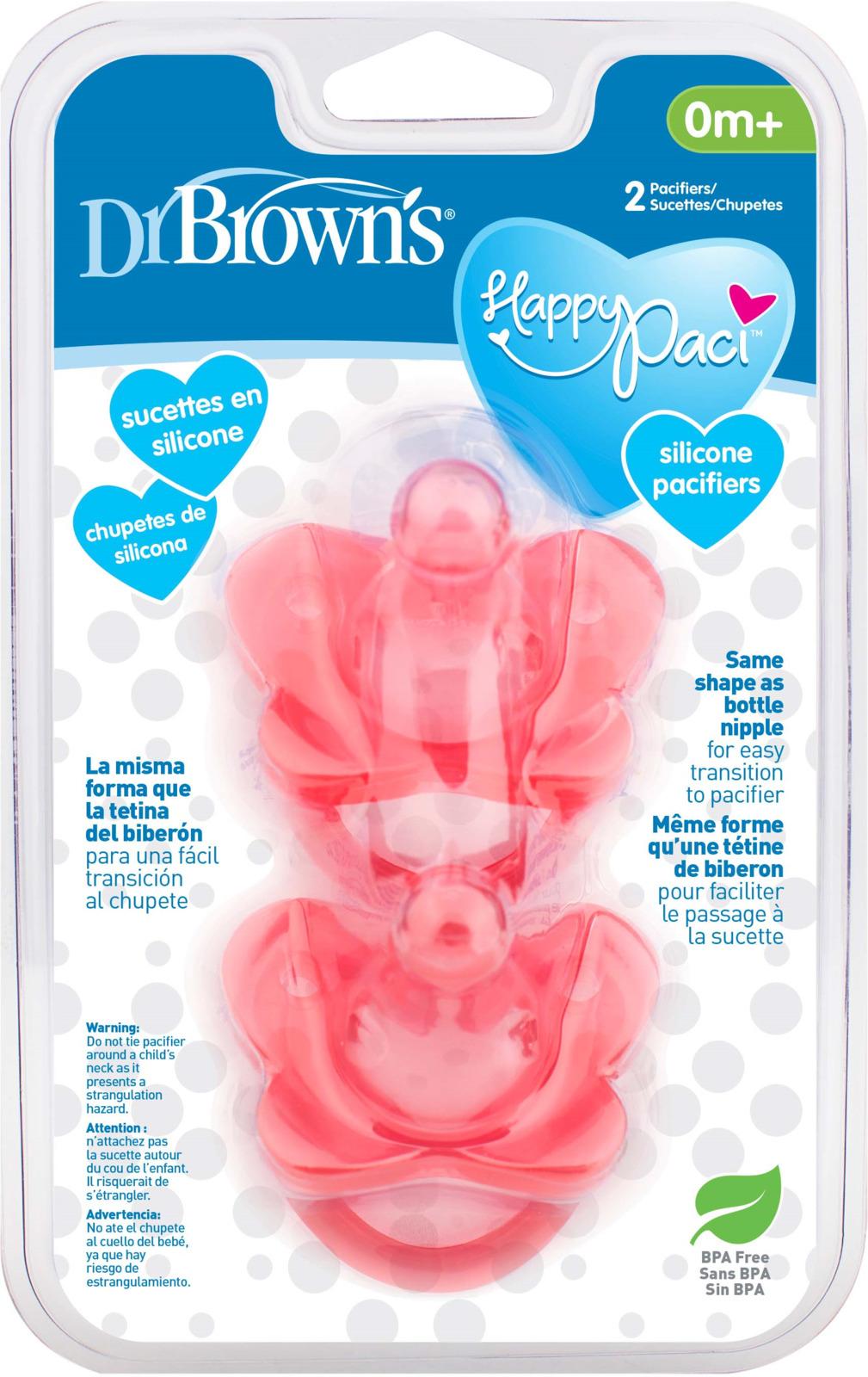 Пустышка Dr. Brown's HappyPaci, PS12007, розовый, с 0 месяцев, 2 шт