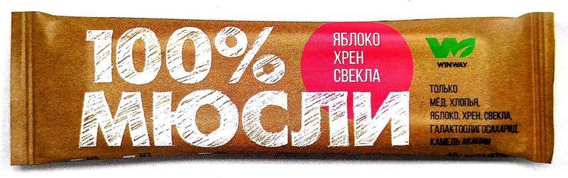 Батончик Winway Мюсли прессованные, яблоко/хрен/свекла, 40 г