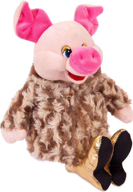 Игрушка мягкая ABtoys Свинка в золотых туфлях и коричневой шубке, 17 см, 19571 мягкая игрушка abtoys свинка пушистая 16 см 19758