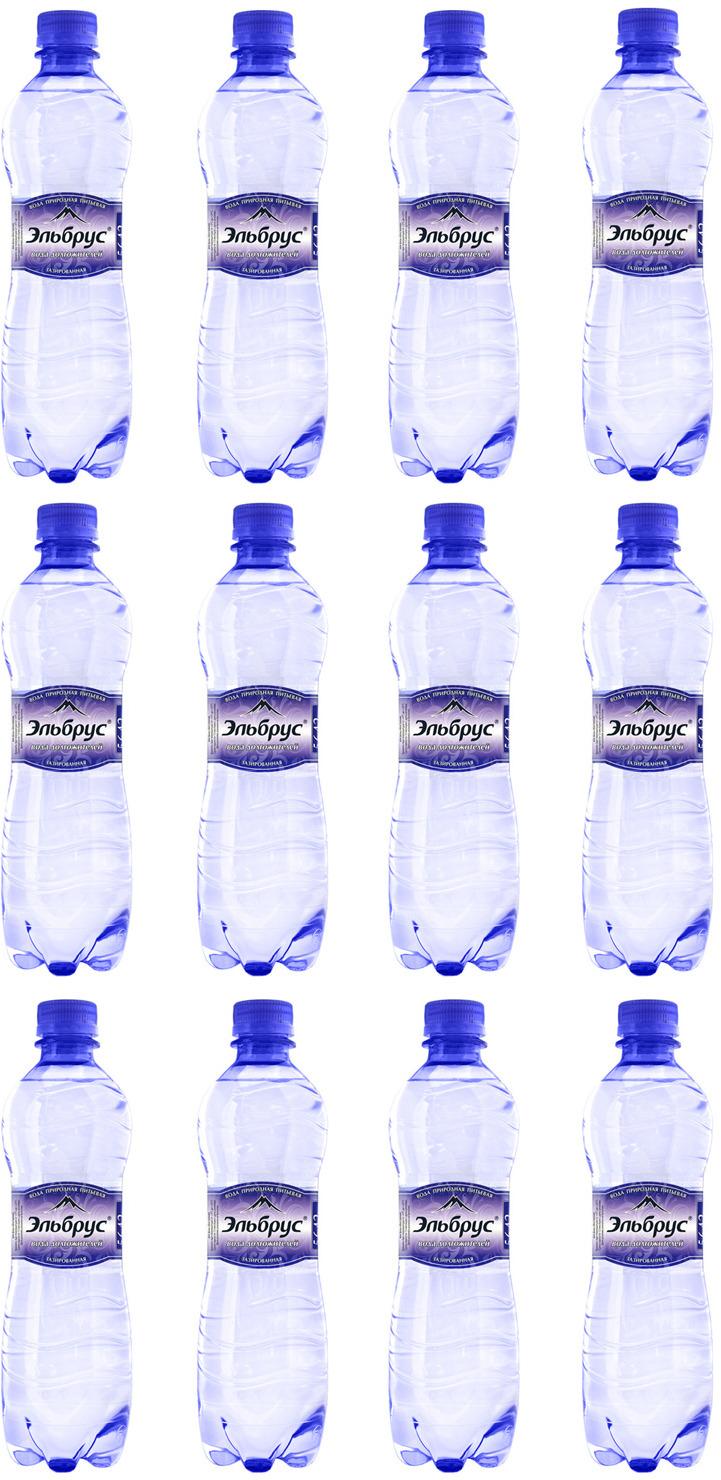 Вода минеральная природная питьевая столовая газированная Эльбрус, 500 мл х 12 шт