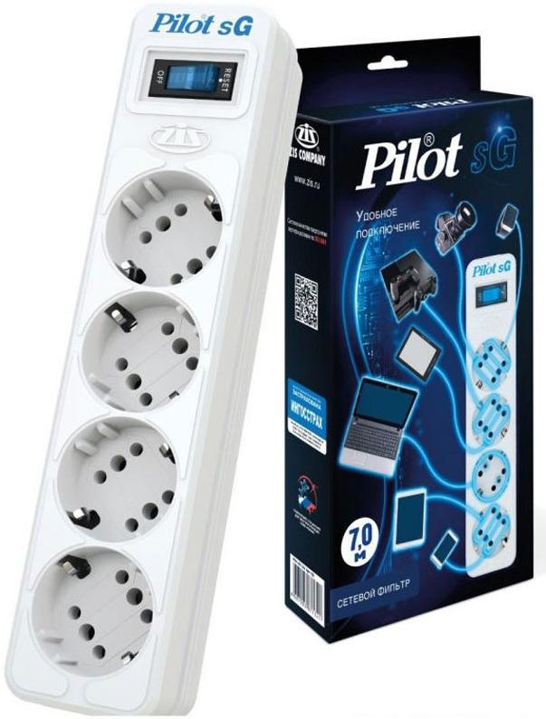 Сетевой фильтр Pilot SG 4x8, 7 м, 1056293, белый сетевой фильтр pilot s 5м белый