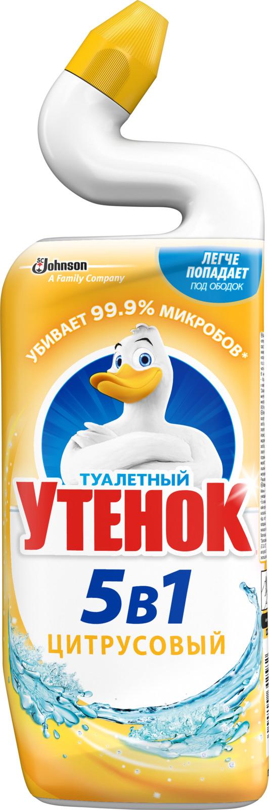 Средство для ванной и туалета Туалетный утенок 5 в 1, цитрус, 696888, 500 мл чистящее средство для унитаза bref сила актив с хлор компонентом 50г