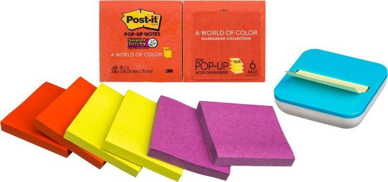 Клейкая бумага для заметок Post-it SuperSticky, 106432, 7,6 x 7,6 см, 6 блоков