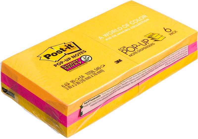 Клейкая бумага для заметок Post-it SuperSticky, 106433, 7,6 x 7,6 см 6 блоков клейкая бумага для заметок post it basic 416840 3 8 x 5 1 см 12 блоков по 10 листов