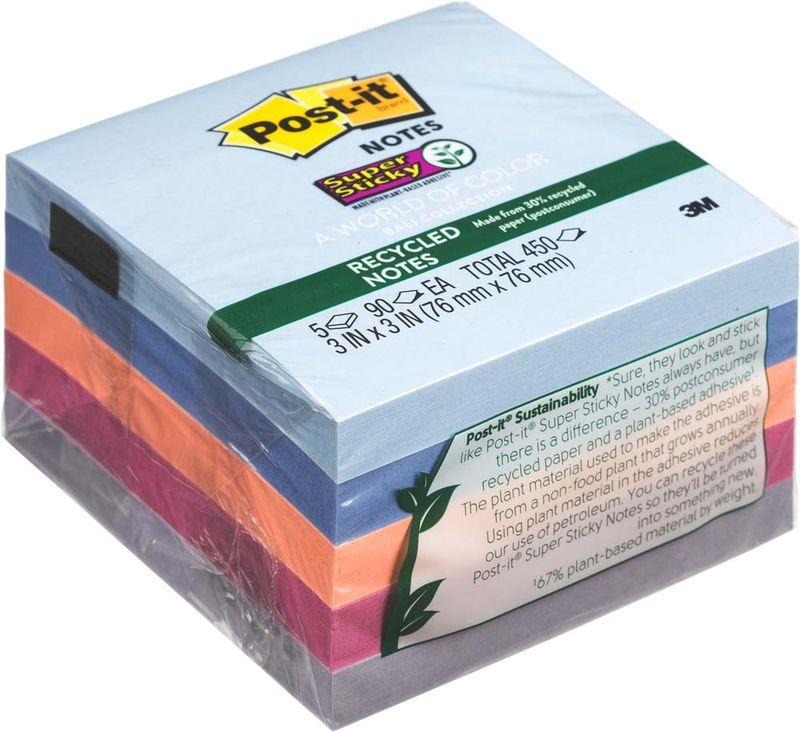 Клейкая бумага для заметок Post-it SuperSticky, 106435, 7,6 x 7,6 см, 5 блоков