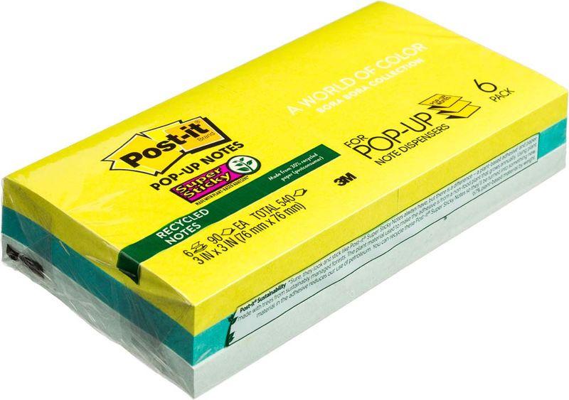 Клейкая бумага для заметок Post-it SuperSticky, 141010, 7,6 x 7,6 см, 6 блоков по 90 листов клейкая бумага для заметок post it basic 345936 3 8 х 5 1 см 12 блоков по 100 листов
