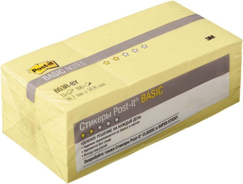 Клейкая бумага для заметок Post-it Basic, 345936, 3,8 х 5,1 см, 12 блоков по 100 листов клейкая бумага для заметок post it basic 345936 3 8 х 5 1 см 12 блоков по 100 листов