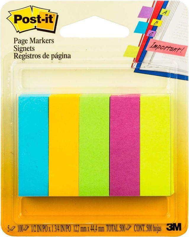 Закладки клейкие Post-it, 425603, 5 цветов по 100 листов закладки клейкие post it 494572 3 цвета по 100 листов