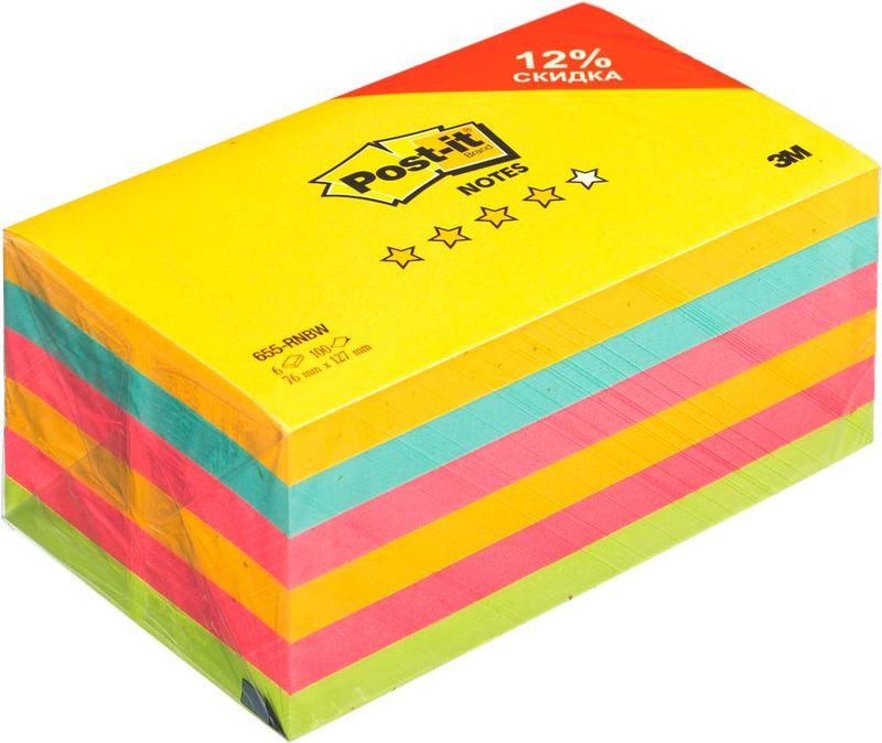 Бумага для заметок Post-it Original, 738392, 7,6 х 12,7 см, 6 блоков по 100 листов клейкая бумага для заметок post it basic 345936 3 8 х 5 1 см 12 блоков по 100 листов
