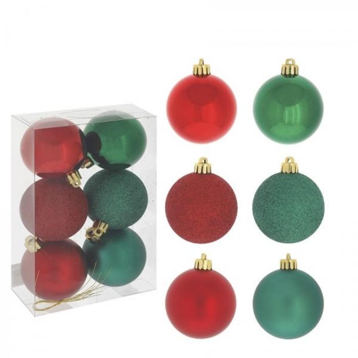 Набор новогодних шаров из 6 шт (красный и зелёный)