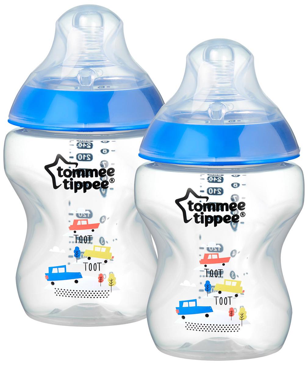Бутылочка для кормления Tommee Tippee Closer to Nature с антиколиковым клапаном, 42252175, синий, 260 мл, 2 шт