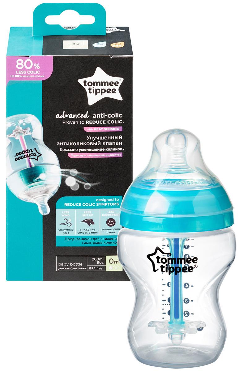 Бутылочка для кормления Tommee Tippee Advanced с усиленным антиколиковым клапаном и индикатором температуры, 260 мл бутылочка для кормления tommee tippee антиколиковая с индикатором температуры 150 мл