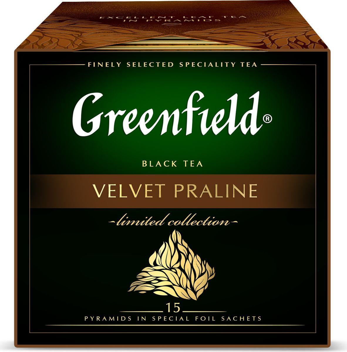 Черный чай в пирамидках Greenfield Velvet Praline, с ароматом шоколадного пралине, 15 шт