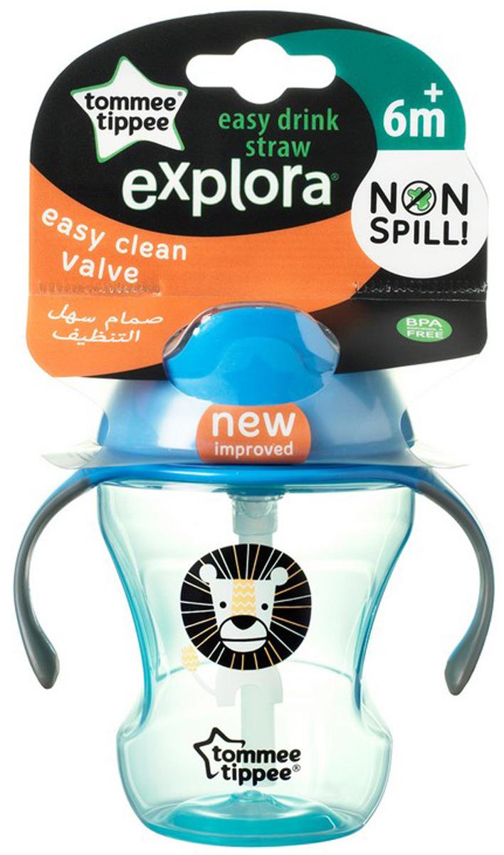Поильник tommee tippee Поильник-непроливайка EXPLORA Easy Drink с трубочкой от 6 мес. 230 мл (голубая) голубой щетка для мытья бутылочек и сосок tommee tippee голубая