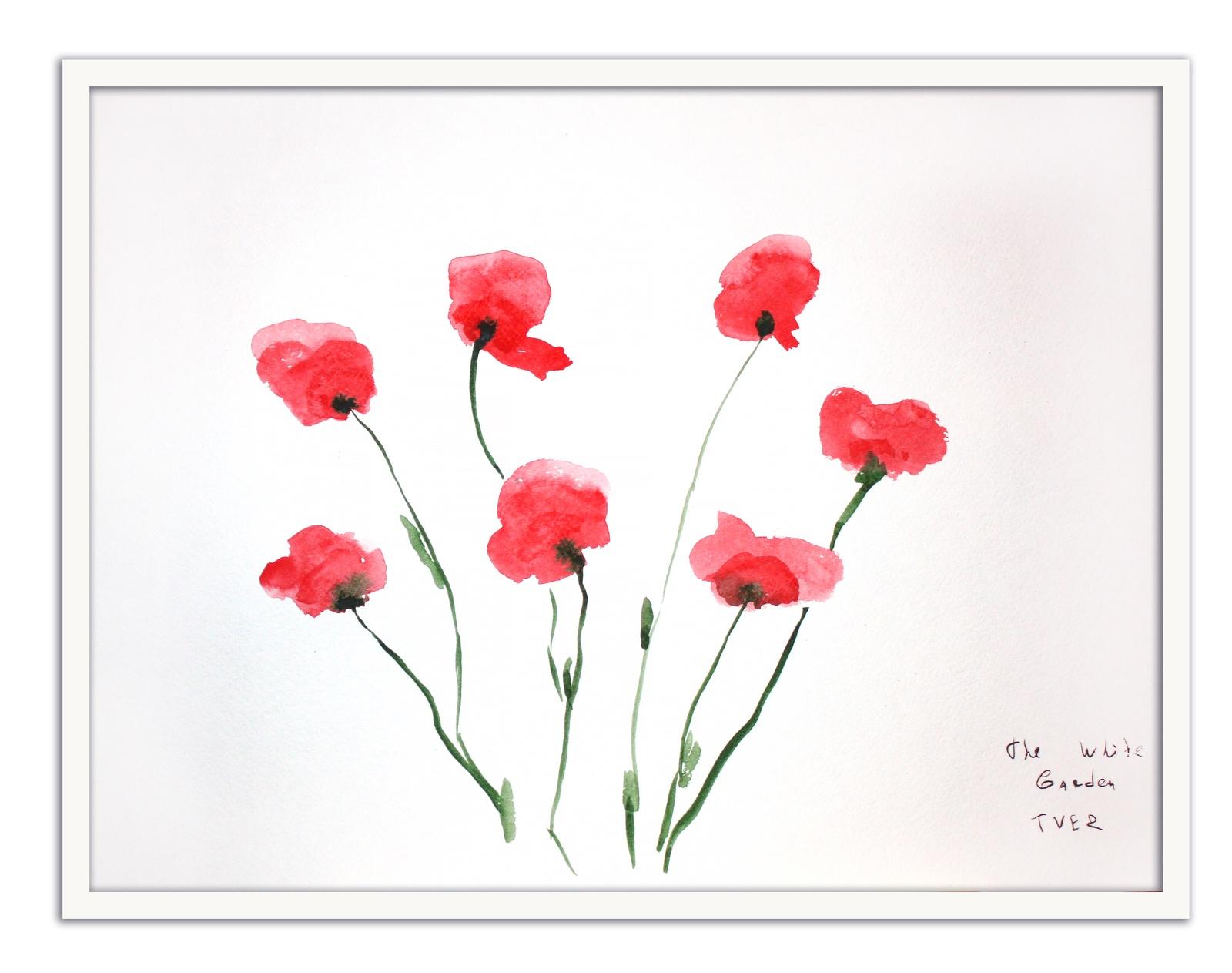 Картина The White Garden TVER Маки, белый картина фото