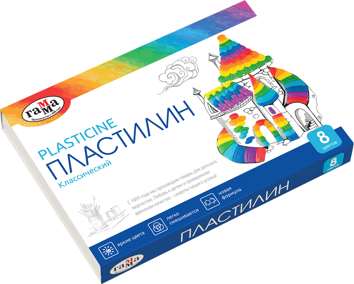 Пластилин Гамма Классический, 281031, 8 цветов, 160 г набор для лепки гамма пластилин классический 12 цветов 240g 281033