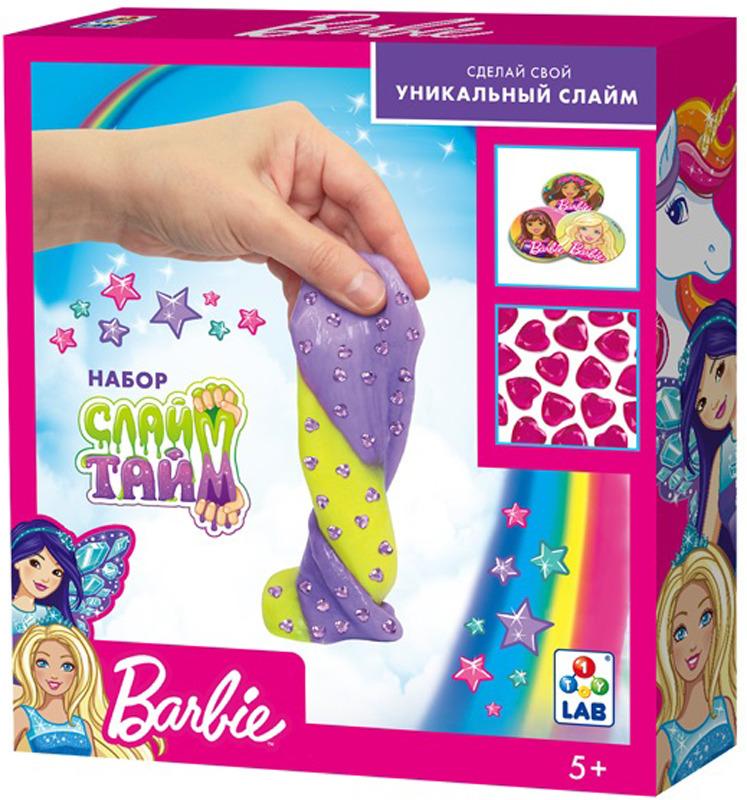 Набор для изготовления слайма 1TOY Слайм тайм Барби, Т14296, розовый, желтый набор для изготовления слайма 1toy слайм тайм человек паук т14293 красный