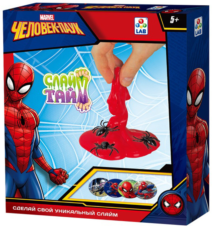 Набор для изготовления слайма 1TOY Слайм тайм Человек паук, Т14293, красный набор для изготовления слайма 1toy сделай слайм неоновый т12027